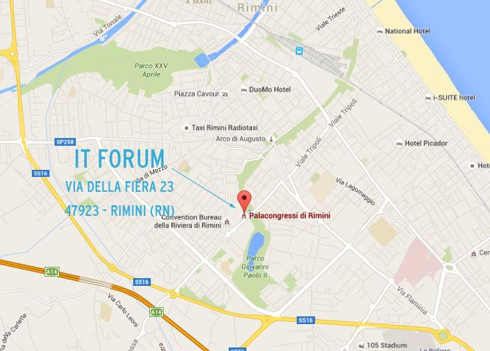 mappa per arrivare all'IT FORUM di Rimini