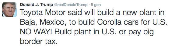 Twit Donald Trump contro Toyota in Messico