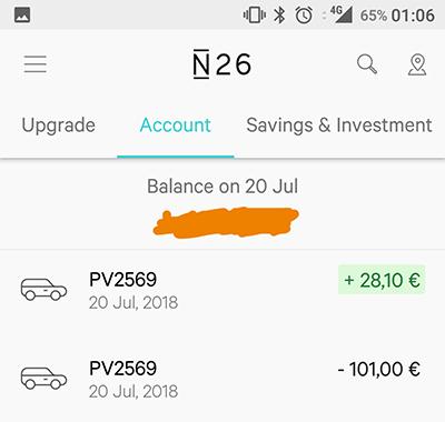 N26 dal benzinaio (accredito costi)